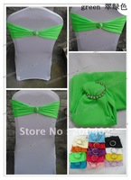 free shipping green  spandex band with rhinestone  for chair covers/spandex band