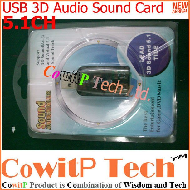 Free Shipping 500pcs/lot Virtual 5.1CH USB 2.0 3D SOUND CARD AUDIO ADAPTER / Dongle for Laptop Plug &amp; Play,with Retail Box(China (Mainland))