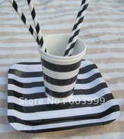 Retro Vintage Birthday Party Supplies STRIPEY STRIPED PARTY TABLEWARE Black Candy Stripe Square Party Paper Plates cups Straws
