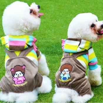 2 COLORS MONCHHICHI Cartoon PET CATS DOG Clothes WARM Hoodie jumpsuit XS,S,M,L,XL,XXL