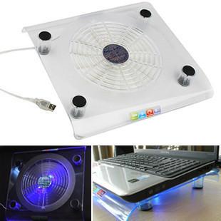 Transparent crystal blu ray big fan laptop cooling pad notebook cooling base b261