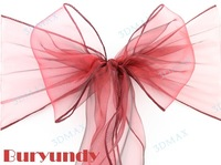Free Shipping 90 pcs/lot Wedding Organza Chair Cover Sashes Sash Party Banquet Decor Bow buryundy Colours