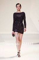 Elie Saab Dress 2013 New Fashion Black Lace Long Sleeves Crystal Beads Sexy Mini Elie Saab Party Evening Gowns Cocktail Dress