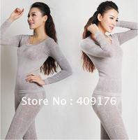 winter Model warm Long Johns O neck Lace Flower Women Shaper Seamless thermal underwear long top+ full length pants shapewear