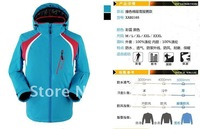 Men's water-proof  free breathing windproof  disassemblability ski suit Men thermal outdoor cotton-padded black blue