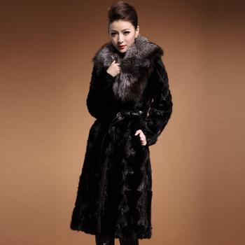 2014 mink blue fox fur collar mink fur overcoat outerwear