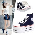 Free shipping 2012 fashion Elevator platform high-heeled casual canvas shoes for women sneaker