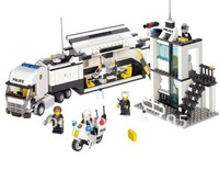Christmas gift Enlighten Child 6727 educational toys Police Truck KAZI DIY toys building block sets,children toys free Shipping