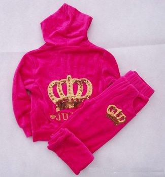 Children girl's 2 pc sets leisure suit clothes, 100% cotton velvet crown clothes sets 3 colors 3T-6T free shipping