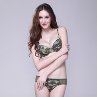 Free Shipping Rgxzr Army Green Camouflage sexy fashion print b c cup women's underwear bra set