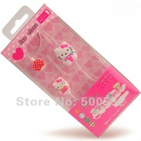 Hello kitty Portable media Earphones In-ear earphone 3.5mm port headphone for childrens, Free shipping 10 pcs/lot