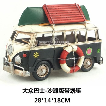 Pure manual  model car public bus beach edition with rowing fine edition  wrought iron model
