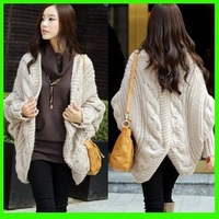 2013 New Fashion Sweater Winter Women Pullover Bat Twist Wool Knit Cardigan For Female Coat/Outwear Knitted Retail