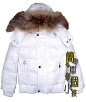 Child down coat male female child short design white fur collar white duck down coat