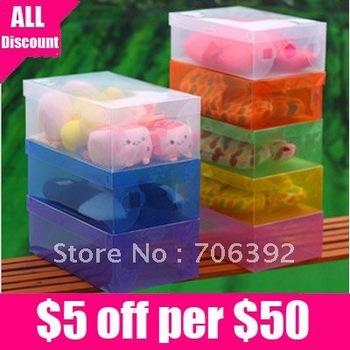 Free Shipping Transparent Plasic Foldable Shoes Box/Clear Plasic Foldable Shoe Storage Box 5pcs/lot