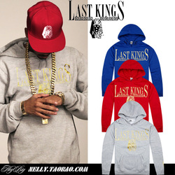 Last king bronzier hiphop pocket hat shirt sweatshirt male hiphop loose tyga hoodie(China (Mainland))