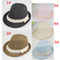 Free shipping 10pcs Baby Straw fedora hats with bowknot,baby summer hat with lace band,children fedora cap,baby straw dicers