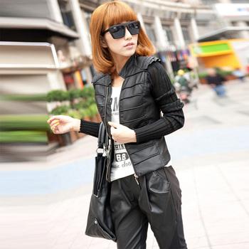 2012 autumn slim coat long-sleeve knitted sleeve patchwork short jacket female leather clothing