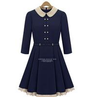 платья осенние женские платье асимметрия круглый воротник кнопка мода полосой