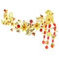 Exotic Chinese Vintage Style Imperial Red Rhinestones Gold Wedding Hair Accessories Pheonix Tassel Bridal Hair Jewelry QS018