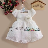 2014  Baby  Girl  Princess Dress White Party Dress Fashion Ball Dress With Belt Baby Clothing Size: 1T,2T,3T,4T