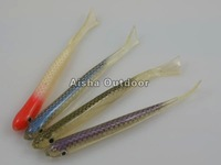 Wholesale 100pcs/lot Soft Fishing Lure [10cm 4g] Fishing Baits Artifical Hollow Fish lures Color random Freeshipping(FS-63)