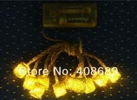 3h 10 G light led battery lantern gold iron wire ball christmas lights decoration lamp string light