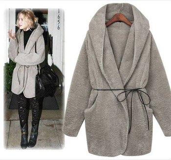 2012 hot selling warm faux wool woman jacket Korea  style fashion Winter coat Stars' favorite cape cardigans popular outwear
