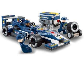 Compatible With Lego Building Block Set SLuBan B0351 Formula car 2/1:32 blue F1 car 3D Puzzle Model,Educational building blocks