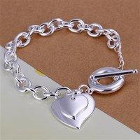 wholesale 925 sterling silver double heart  pendent bracelet,925 bracelet,925 jewelry b24