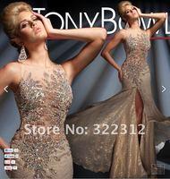 2013 Elegant Champagne Satin Rhinestone Swarovski Crystal Fashion Gorgeous Shiny Floor Length Beautiful Prom Dress Evening Gown