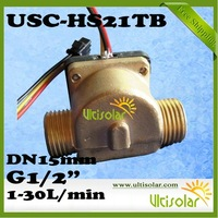 "Free Shipping USC-HS21TB Hall Flow Sensor G1/2"" DN15mm 1-30L/min Brass Body 4pcs a lot to measure water flow rate"