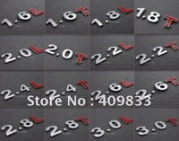 Free shipping 4pcs/lot metal engine displacement lable car sticker