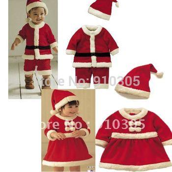 Baby christmas romper baby romper dress cap polar fleece fabric thickening romper hat set free shipping