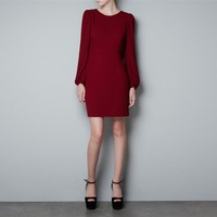 Женское платье 2012 NEW Women's Autumn Single Breasted Retro Silm Mid-Calf Dress Girl Long Sleeve Casual Knitted Dresses 3629