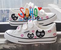 2012Hand-painted shoes cartoon  gentlewomen women's shoes graffiti shoes velcro