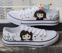 Shoes doodle lacing canvas  Women lovers men's breathable plus size shoes