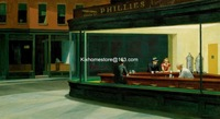 Nighthawks,1942 by Edward Hopper hand painted museum quality landscape oil painting on canvas replica, Edward Hopper famous arts