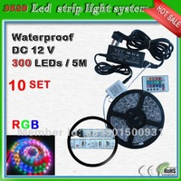 rainbow ribbon 5m_free shipping SMD3528 60 leds/m waterproof RGB ir remote control led flex stripes