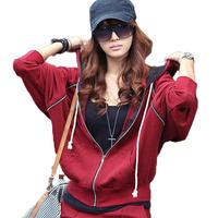 Autumn sports batwing shirt outerwear women's loose batwing sleeve casual sweatshirt sports set batwing sleeve female