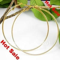 Free Shipping 72pcs(36pairs) 50mm 60mm 70mm Gold Plated Hoop Earrings Wholesale Fashion Earring Big Hoop Earring good quality