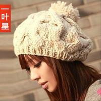 Осень и шляпа кролика Кап художник берет трикотажные женские шляпы шляпа для женщин Зимняя мода Вязание Шерсть шерсти