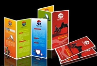 A4 tri-fold brochures / flyers / leaflets printing with art paper printed  foldaway brochures