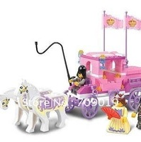 Christmas gift Enlighten Child 0250 Educational Royal Carriage SLUBAN Assembles Particles Block Toys,children toys free Shipping