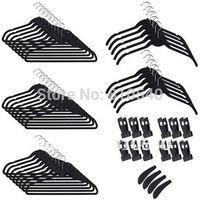 New Multifunctional mixture items of  60 set  Fashionable  ABS plastic velvet flocked non-slip hanger & accessories of hanger