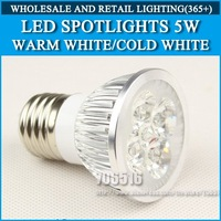 High power led bulbs E27 5W Cold white/warm white AC85-265V Free Shipping