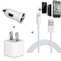 8 pin Cable USB Data+Car+Wall Charger for iphone 5 ipod touch 5 nano 7+Screen