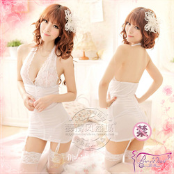 free shipping New arrival sexy lace decoration halter-neck one-piece nightgown ol professional set temptation 9836 Sexy Lingerie(China (Mainland))