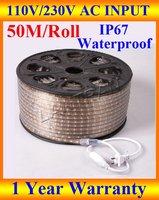 Wholesale 110v led strip light, led strip light waterproof IP67 110V 5050 SMD 60 led/M 50M/roll white/red/yellow/blue/green