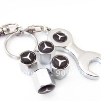 4 PCS Chrome Metal Tire Air VALVE STEM Caps Emblem  Mercedes Benz  Wrench Keychain